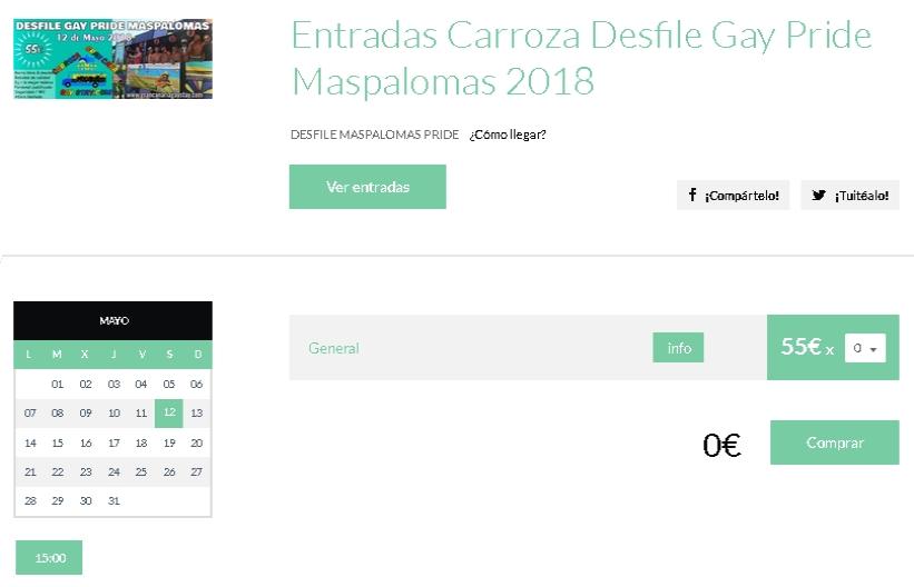 Entradas Carroza Maspalomas Gay Pride 2018-GranCanariaGayStay-tickets-en
